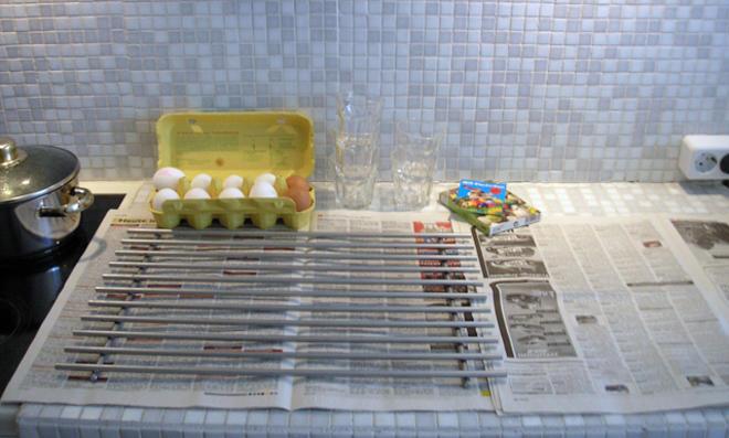 Vorbereitungen Eier färben