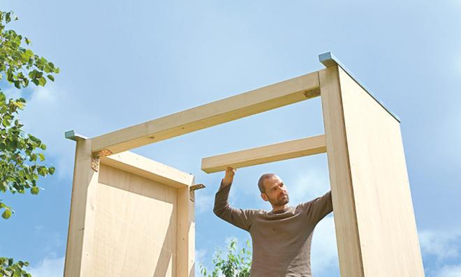 Dachkonstruktion aufsetzen