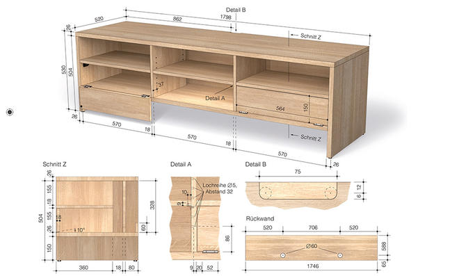 tv lowboard selber bauen bauanleitung. Black Bedroom Furniture Sets. Home Design Ideas