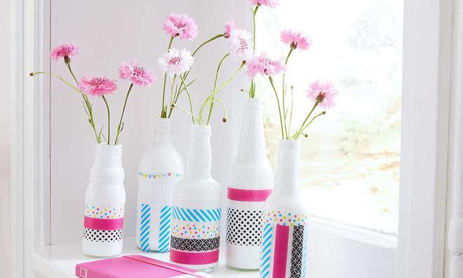 Washi tape vasen dekorieren - Vasen dekorieren ...