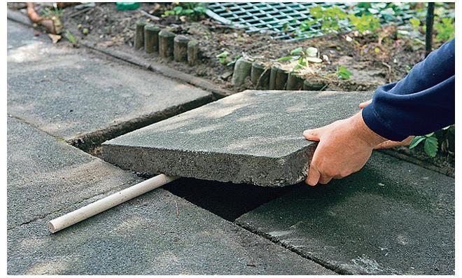 Betonsteinplatte einpassen