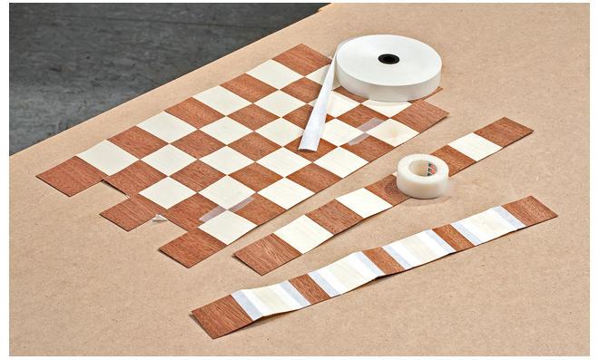 Schachbrettmuster aus Furnier