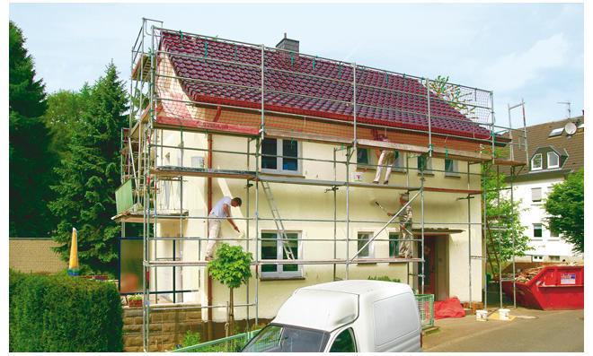 Fassade: Arbeiten auf dem Gerüst