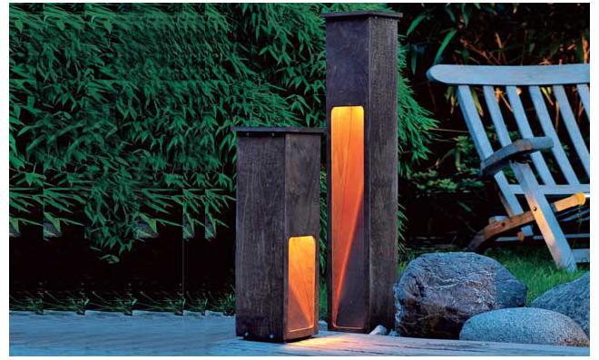 Gartenleuchte aus Holz & Kupfer