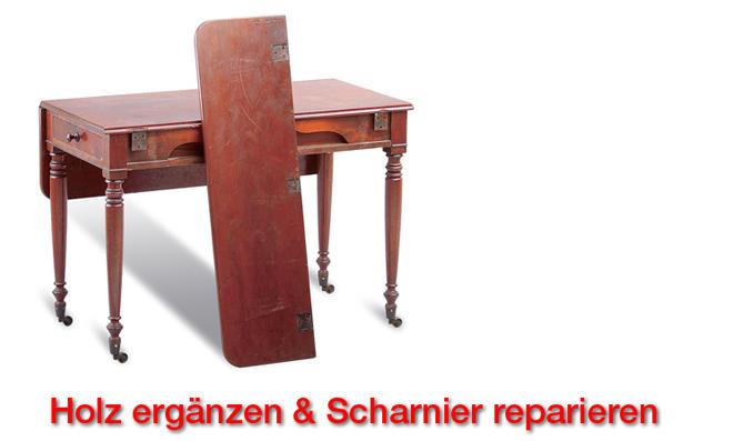 Tisch restaurieren: Holz ergänzen & Scharnier reparieren