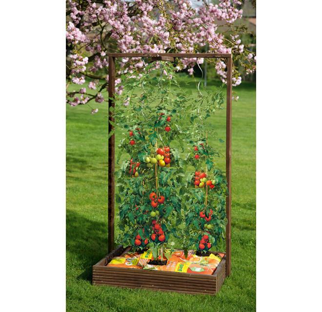 40 Liter Holz Rank Blumentopf 94 cm hoch mit Rankgitter Pflanzen Pergola